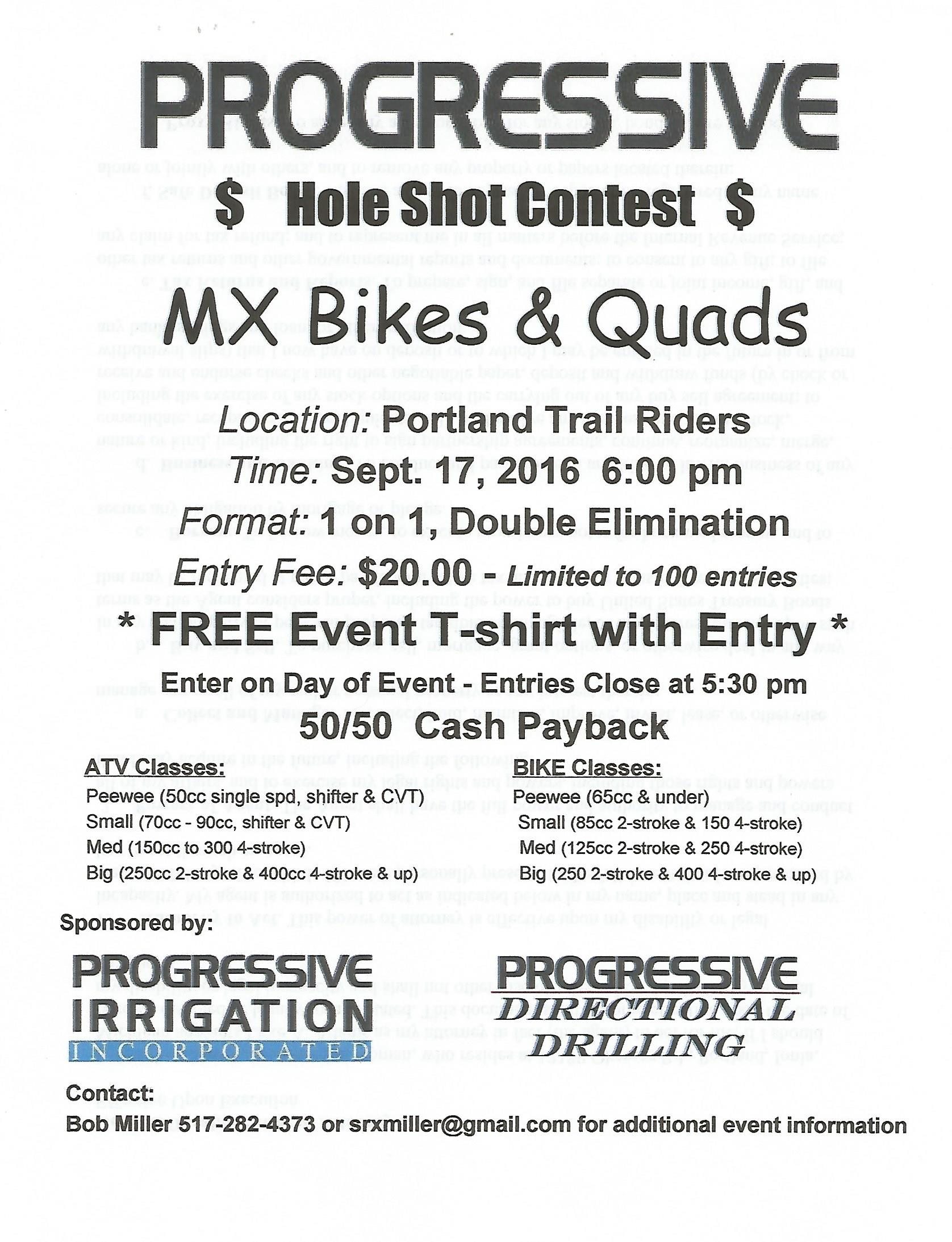 Portland Trail rider holeshot contest